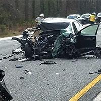 Damaged vehicle after crash