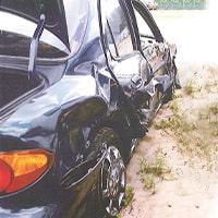 Damage in accident with truck